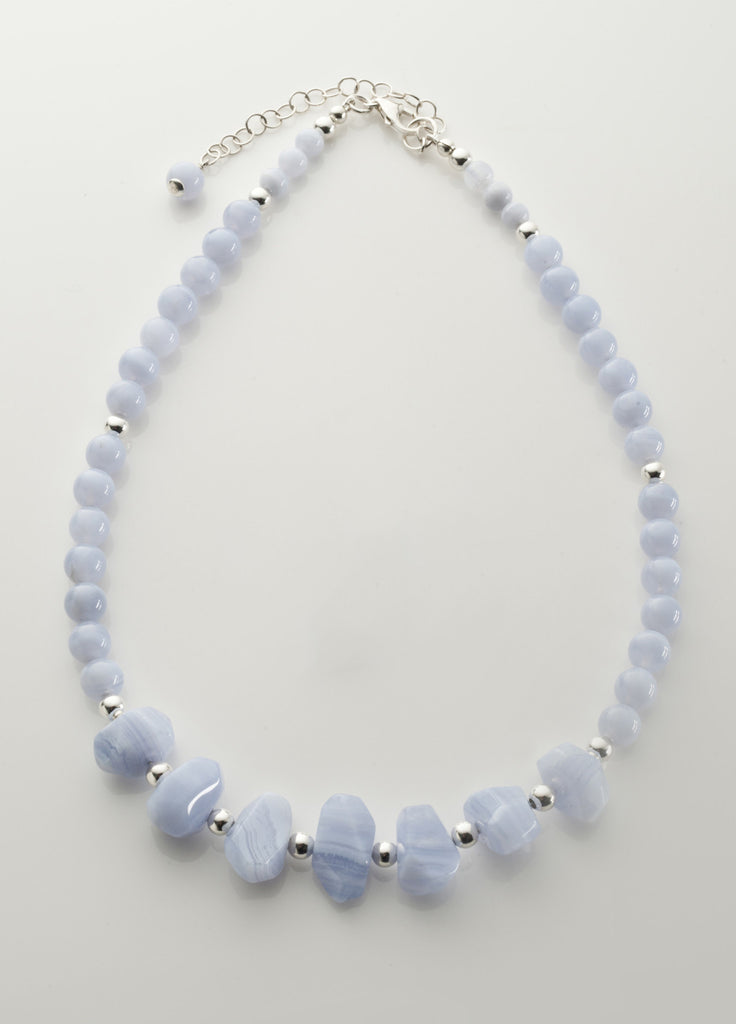 Blue Lace Agate Necklace with Sterling Silver