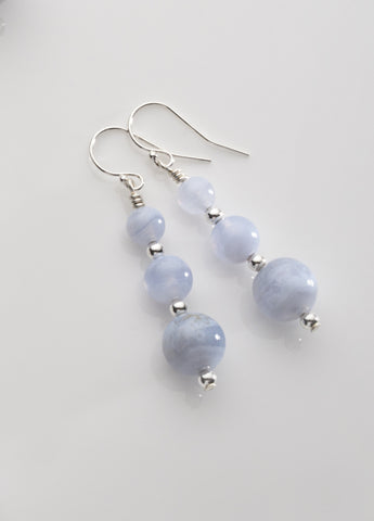 Blue Lace Agate 3-bead Earrings with Sterling Silver
