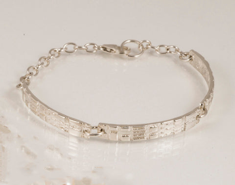 Bar drop bracelet in sterling silver
