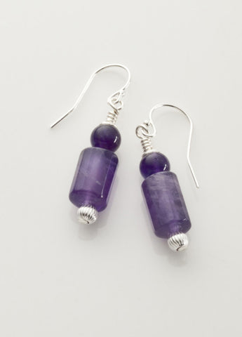 Amethyst (mid-tone) Earrings with Sterling Silver
