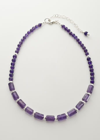 Amethyst (mid-tone) Necklace with Sterling Silver