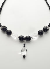 Black Onyx and Clear Quartz Crystal Necklace with Sterling Silver