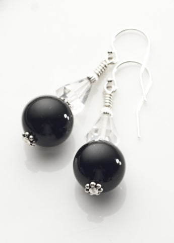 Black Onyx and Clear Quartz Crystal Earrings *1 with Sterling Silver
