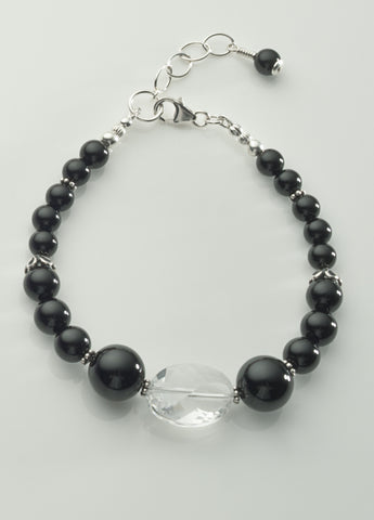 Black Onyx and Clear Quartz Crystal Bracelet *2 with Sterling Silver