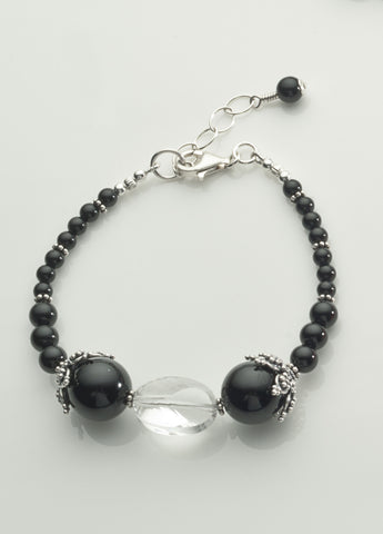 Black Onyx and Clear Quartz Crystal Bracelet with Sterling Silver