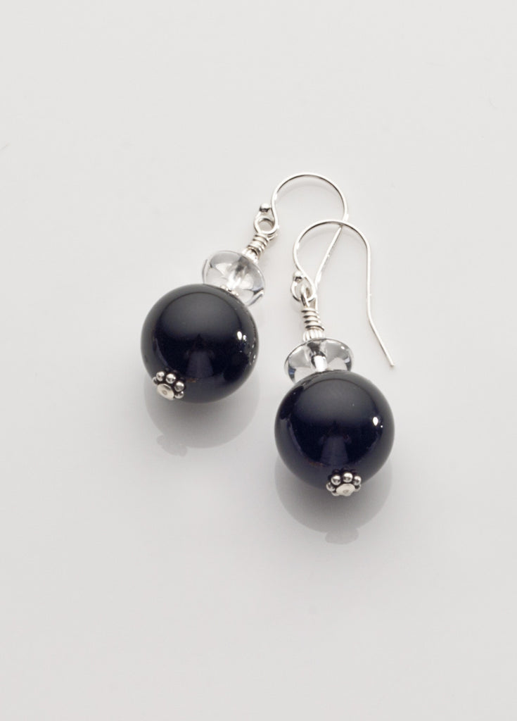 Black Onyx and Clear Quartz Crystal Earrings *2 with Sterling Silver