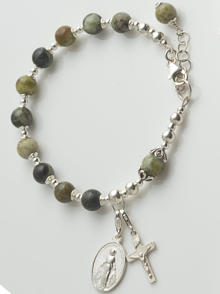 Connemara Marble Irish Rosary Bracelet with Sterling Silver