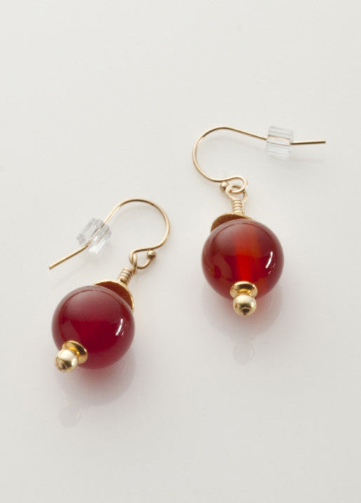 Carnelian Earrings (heat treated) with Vermeil