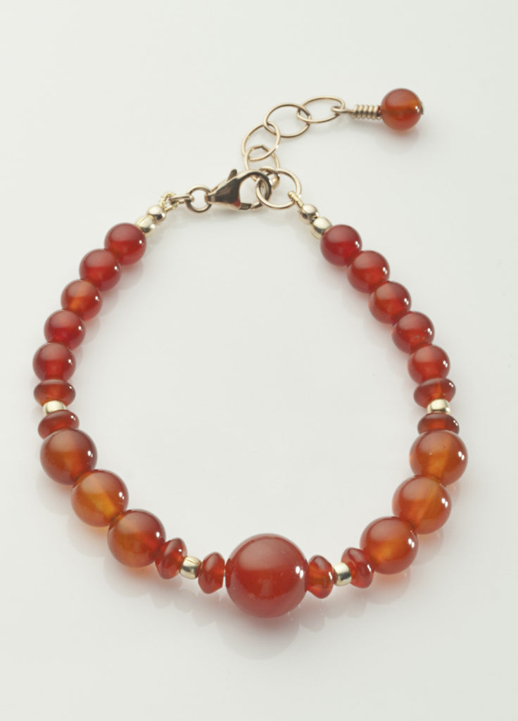 Carnelian Bracelet (heat treated) with Vermeil