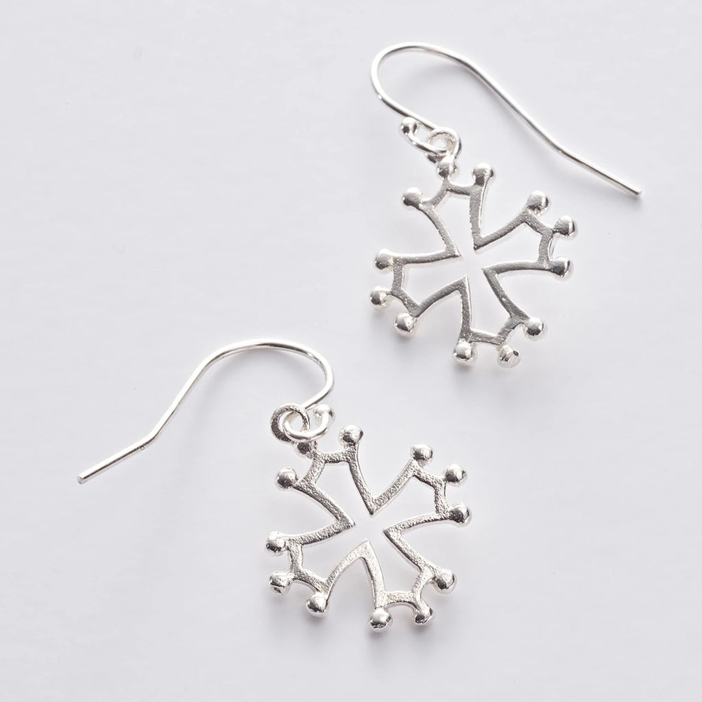 Cathar Cross Drop Earrings in Sterling Silver