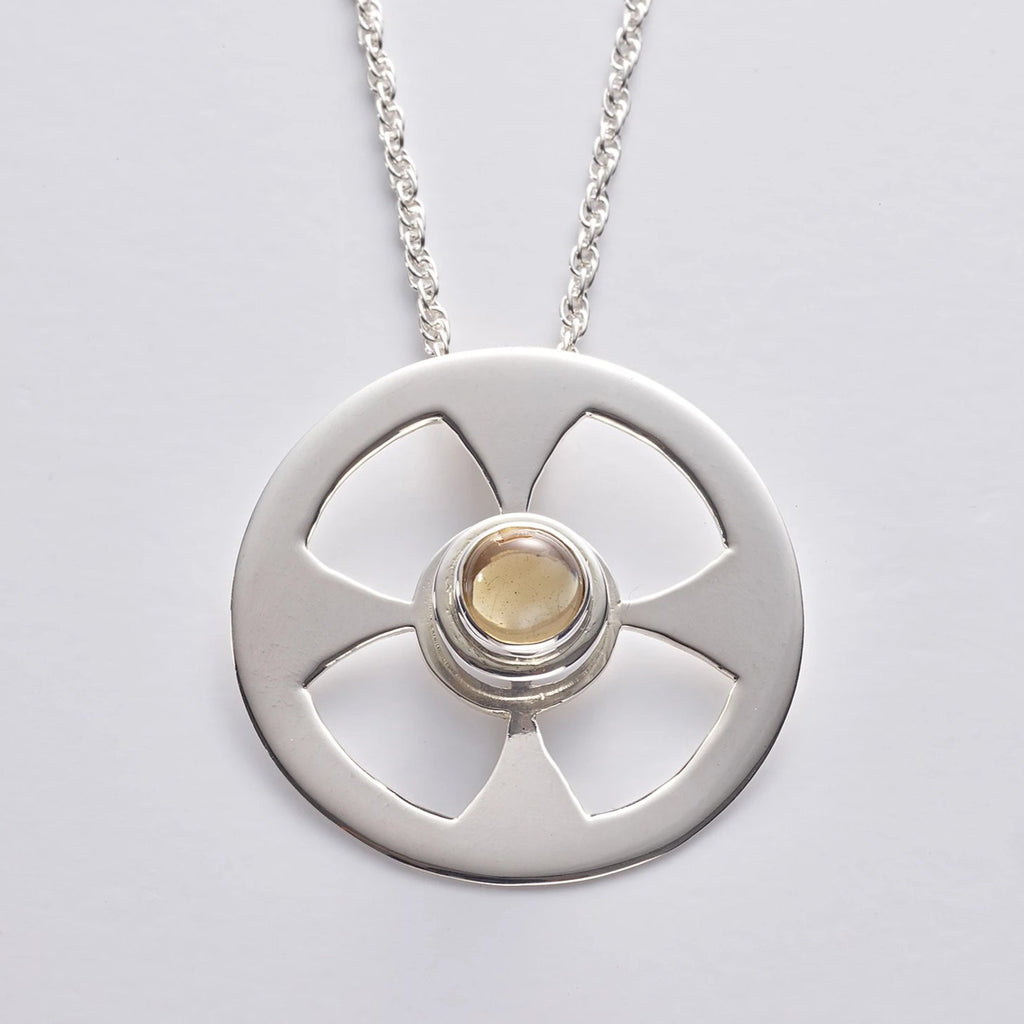Celtic Contemporary Cross in sterling silver with Citrine