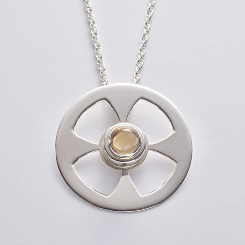CELT 4 Citrine: Celtic Contemporary Cross in sterling silver with Citrine (wholesale)