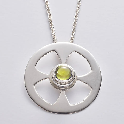 Celtic Contemporary Cross in sterling silver with Peridot