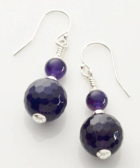 Amethyst (Deep) Earrings with Sterling Silver