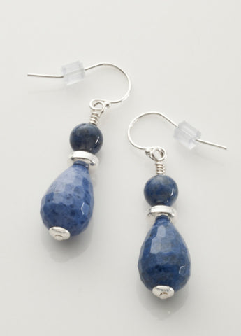 Dumortierite Earrings with Sterling Silver