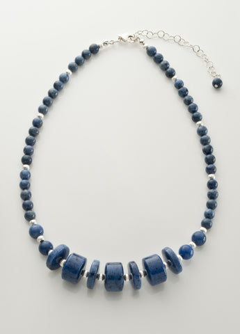 Dumortierite Necklace with Sterling Silver