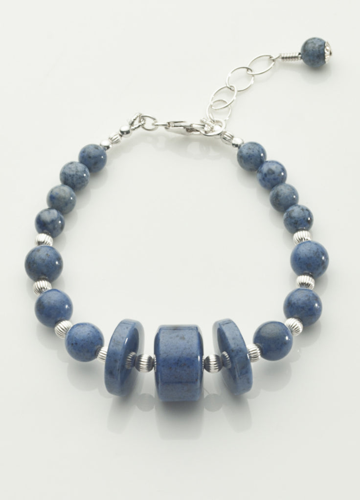 Dumortierite Bracelet with Sterling Silver