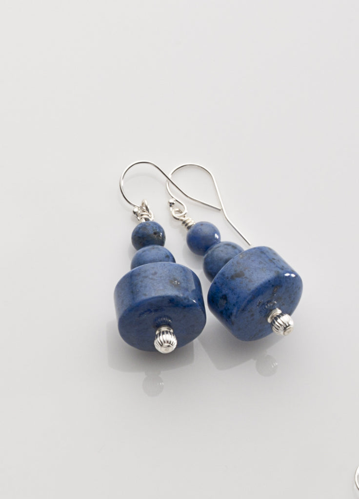 Dumortierite Chunky Earrings with Sterling Silver