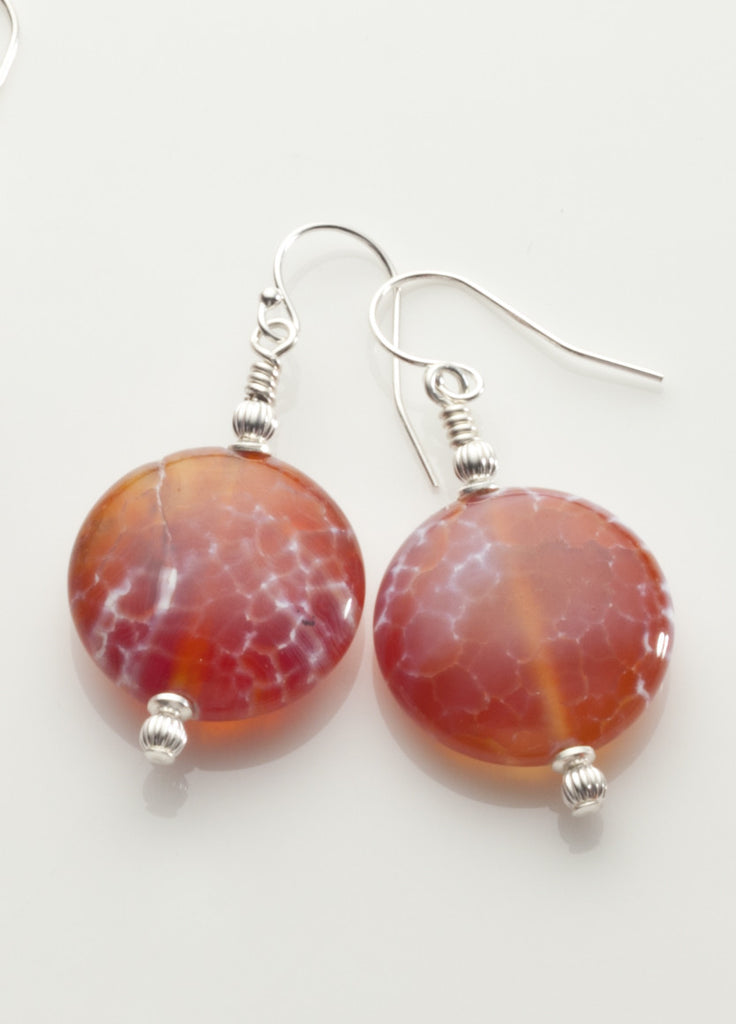 Fire Agate Disc Earrings with Sterling Silver