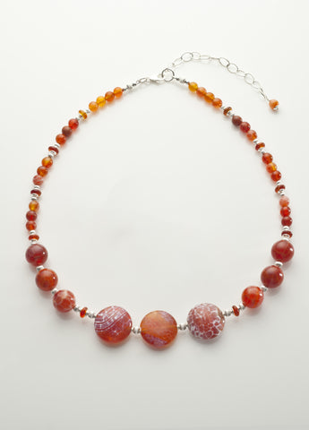 Fire Agate Necklace with Sterling Silver