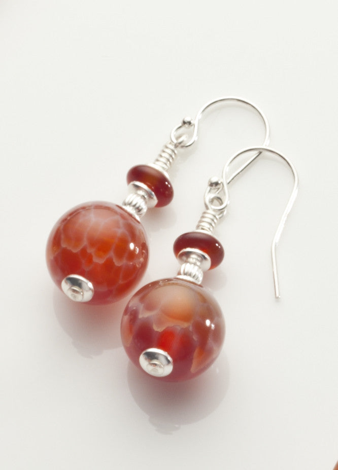 Fire Agate Earrings with Sterling Silver