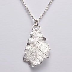 Magdalene oak leaf pendant in sterling silver