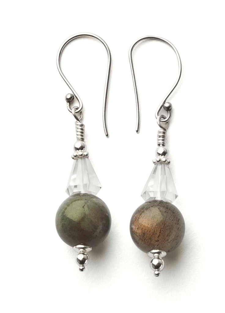 Labradorite and Quartz Crystal Earrings with Sterling Silver