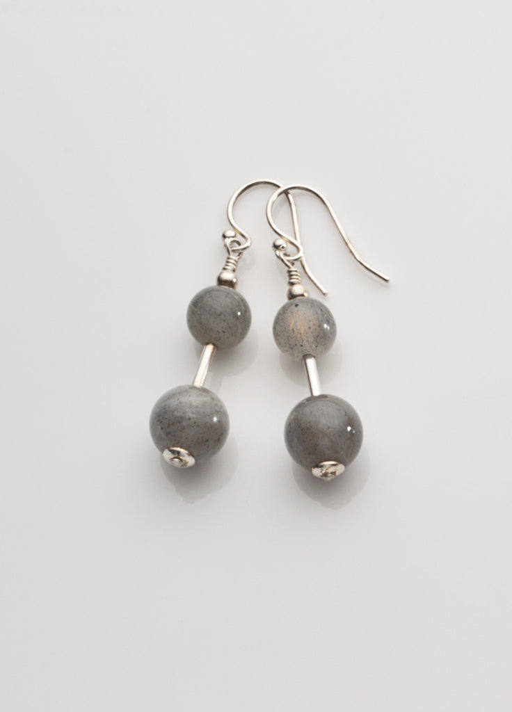 Labradorite Earrings (2-bead) with Sterling Silver