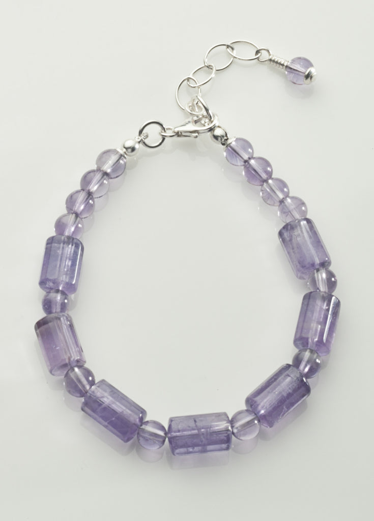 Amethyst (Light) Bracelet with Sterling Silver