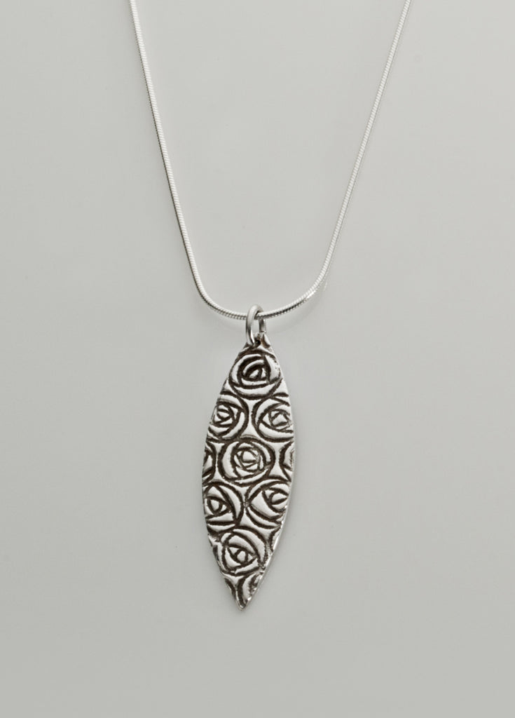 Mackintosh rose sterling silver pendant, marquise