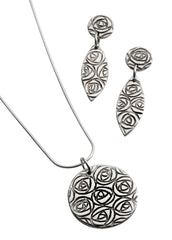Mackintosh rose sterling silver earrings stud/drop style