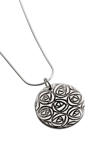 Mackintosh rose sterling silver pendant, round