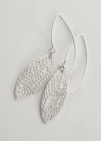 Slender leaf earrings in sterling silver