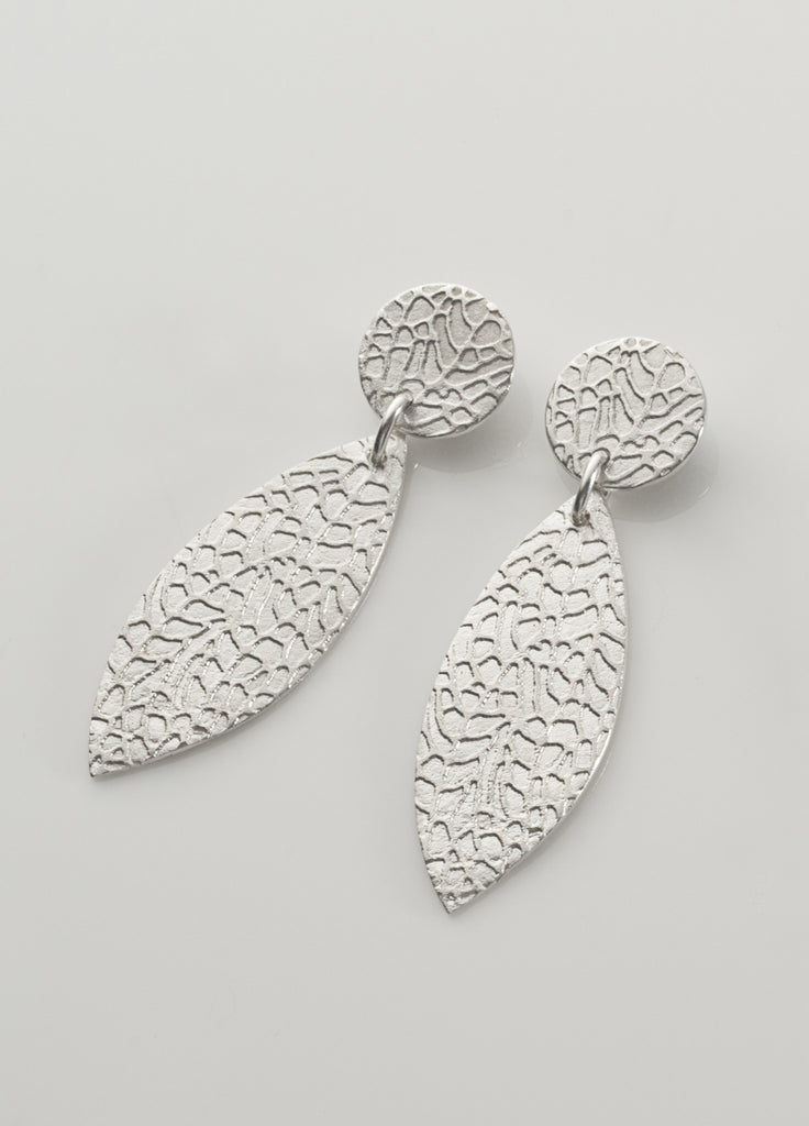 Slender leaf STUD drop earrings in sterling silver