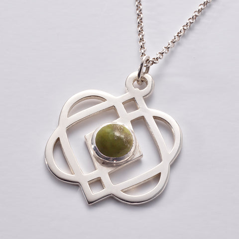 ONENESS Large Silver Pendant & Chain, with Connemara Marble