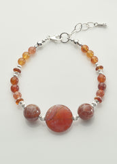 Fire Agate Bracelet with Sterling Silver
