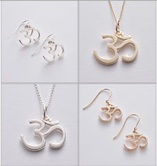 OM Silver Drop Earrings