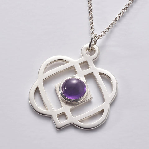 ONENESS Large Silver Pendant & Chain, with amethyst