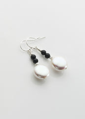 Freshwater pearl coin and black onyx earrings with sterling silver