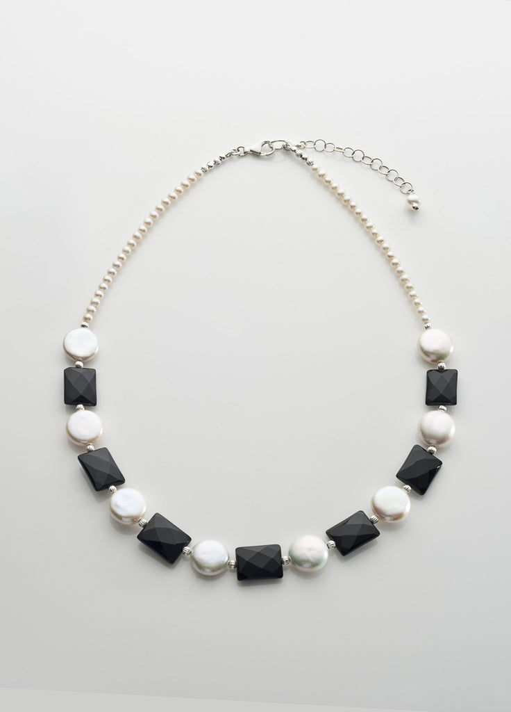 Freshwater pearl coins and faceted black onyx necklace with sterling silver