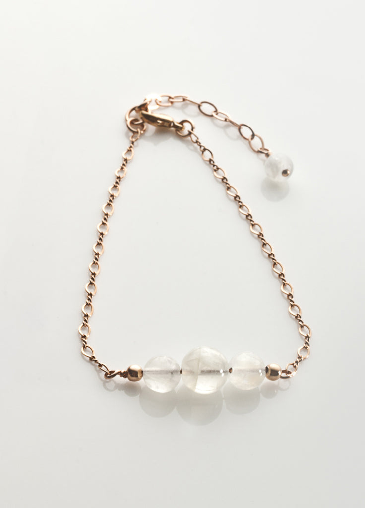 Rainbow Moonstone Bracelet with 14K ROSE gold filled Chaining