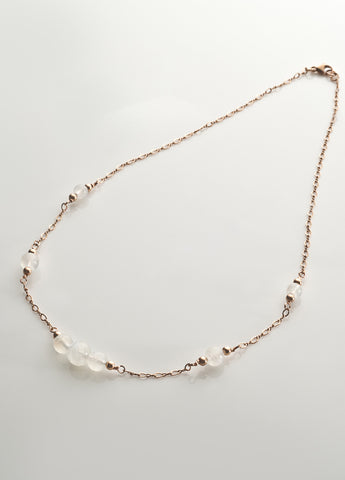 Rainbow Moonstone Necklace with 14K ROSE gold filled Chaining