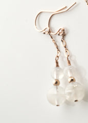 Rainbow Moonstone Earrings with 14K ROSE gold filled Chaining