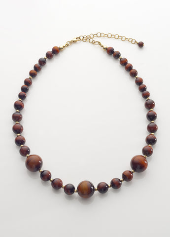 Red Tiger Eye Necklace with 14K gold filled