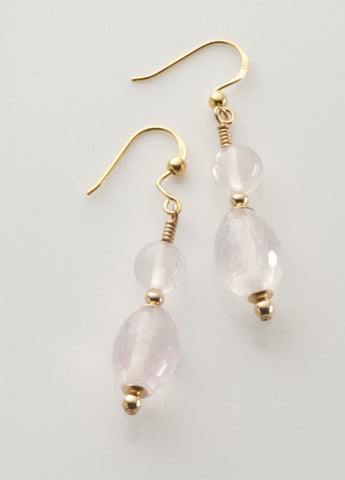 Rose Quartz Earrings with 14K gold filled