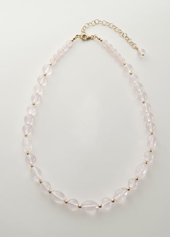 Rose Quartz Necklace with 14K gold filled