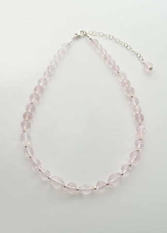 Rose Quartz Necklace with sterling silver