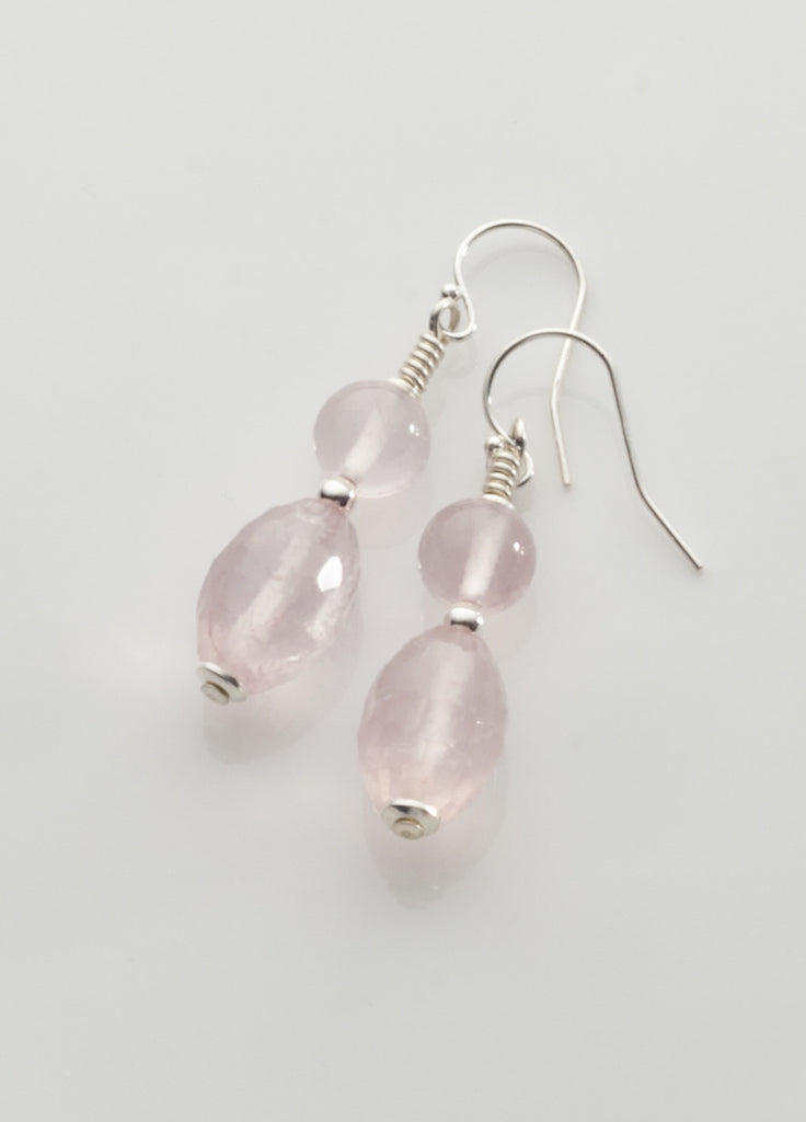 Rose Quartz Earrings with sterling silver