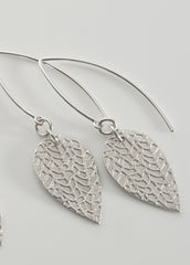 Rounded leaf earrings in sterling silver