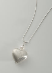 Silver and pearl heart pendant, large